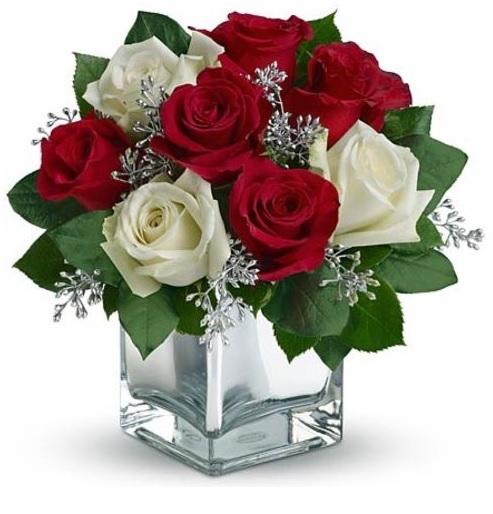 Aranjament Buchet Trandafiri Albi Si Rosii 0ron Arta Cu Suflet